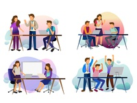Sets of scenes at office. teamwork of business discussion art web layout business digital graphic design ux page marketing landing development ui internet homepage vector mobile illustration flat design