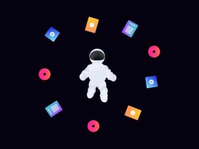 Floating space dude floating illustrator cc helmet gradient 2d illustration media astronaut content space