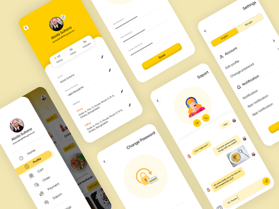 Food delivery app Profile & Settings concept settings app page settings ui settings page profile app page profile design profile page message app messenger chat app chat delivery app food delivery app food app food app ui application app design ux design ux uidesign ui