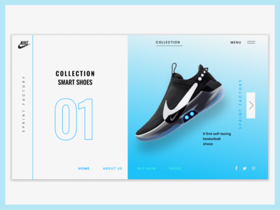 Nike Adapt BB Landing Page shoes landing page website web design ux design ux ui design ui nike adapt bb landing page nike shoes landing page concept figma  landing page branding clean conceot design