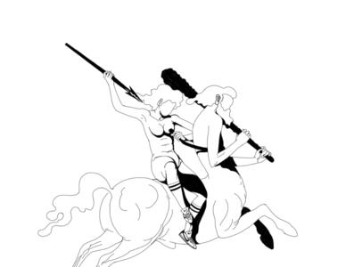 Take a peek / work in progress artwork centaur drawing illustration art