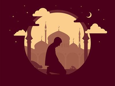 Prayer illustrator mosque arthur-id silhouette vector aerial perspective illustration