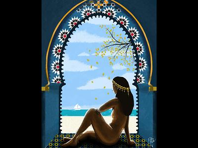 Jasmine photoshop poetry cloudy horizon maroc woman feminine beauty illustration design