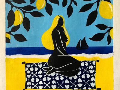 Sur la plage abandonnée acrylic paint sea matisse lemon poetry woman feminine beauty illustration design