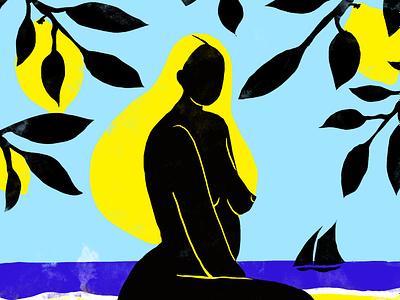 La plage abandonnée yellow lemon matisse photoshop woman poetry feminine beauty illustration design