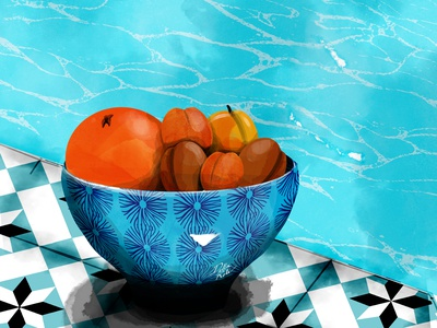 Apricops art swimmingpool apricot orange water color patterns photoshop woman poetry feminine beauty illustration design