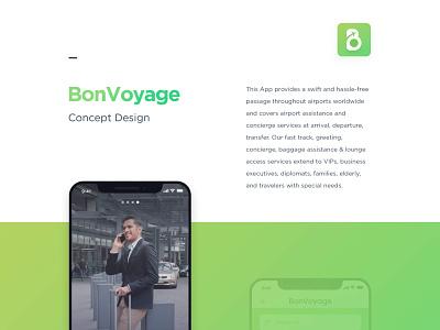 BonVoyage App Logo and Mockup - Airport Assistance | Branding iconic logo minimal branding