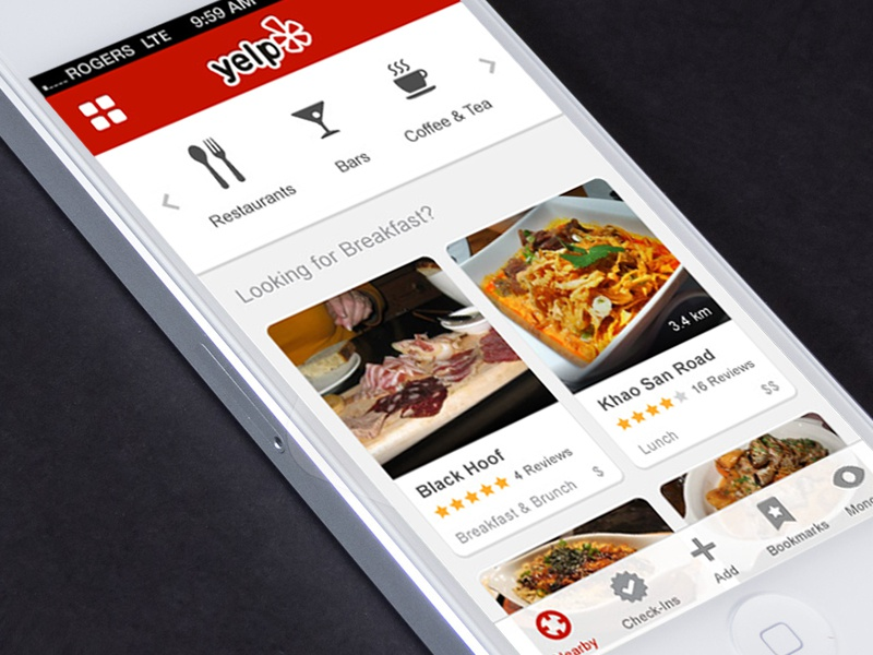 Yelp Nearby Page redesign iphone ui iconography directory food cards reviews ux flat clean mobile restaurant