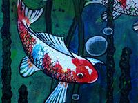 Lotus pond with Koi fish