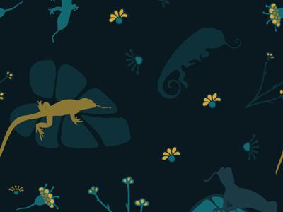 Midnight Lizards surface pattern illustration midnight lizards lizard pattern