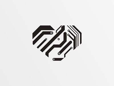 Human Machine heart vector icon logo