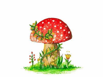 Wartercolor Mushroom