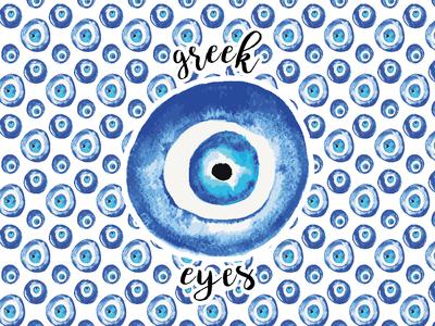 Greek Eyes Watercolor