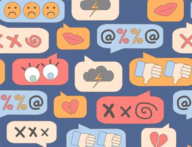 online bullying pattern harassment online cyberbullying seamless pattern vector design illustration