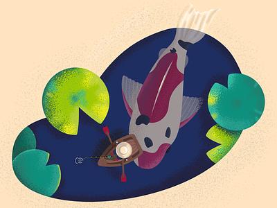 Fishing fisherman fishing fish koi fish koi vector illustraion