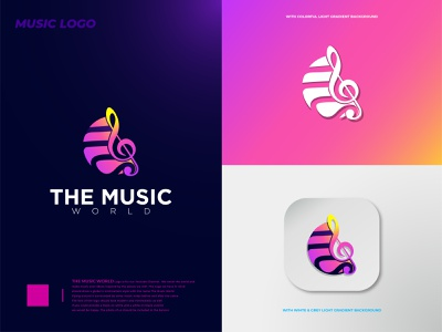 The Music World Brand Logo modern design minimalistic minimalist modern logo unique logo minimalist logo music art music app music icon music notes logo deisgn branding idendity vector minimal logo design 2d modern illustration music logo