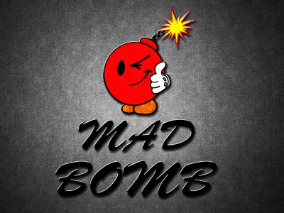 Mad Bomb Logo smiley face vector playfull logo design firecracker red bomb mad