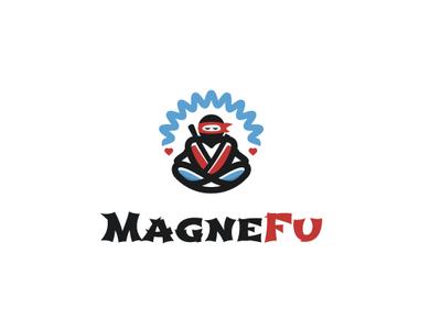 Ninja Heart Magnet magnet meditation heart ninja vector icon logo branding
