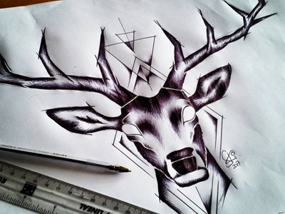 Stag Chest Tattoo Design