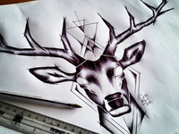Stag Chest Tattoo Design