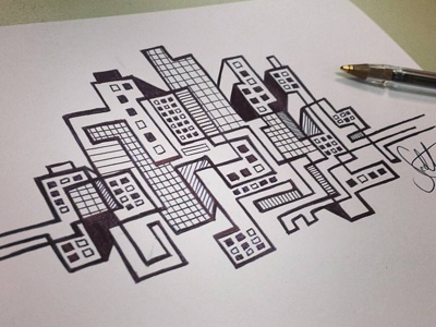 Skyline Pen Illustration