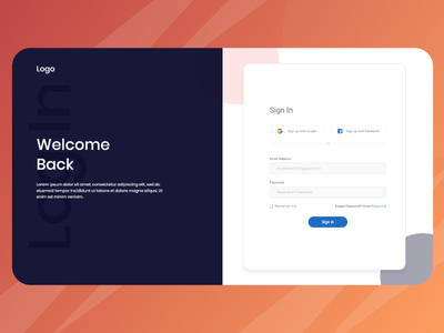 Sign In Page Design ui ux web ui web design ui desgin enter page 1st page welcome page log in signin sign in log in page