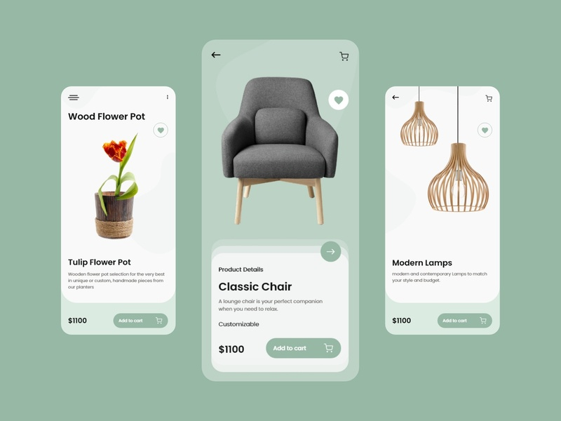 Furniture Mobile App UX UI Design furniture design detail page colours ux product design furniture ui  ux mobile design mobile ui minimal app branding design illustration