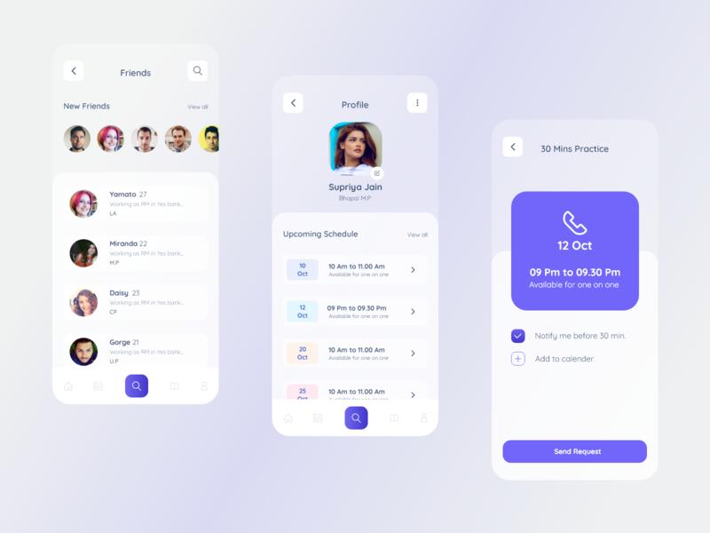 Speaking Practice Mobile App Designs illustraion colors minimal app practice english speaking mobile ui ux