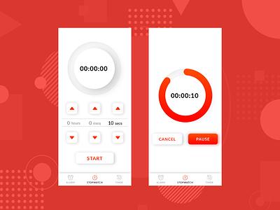 Daily UI Challenge: 014 mobile alarm clock stopwatch visualdesign 014 dailyui