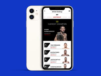 Daily UI Challenge: 019 design webdesign figma playercard leaderboard ufc visualdesign mobileapp dailyui dailyui019