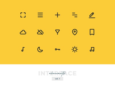 Interface Elements Pixel-perfect Icon Set vol. 1