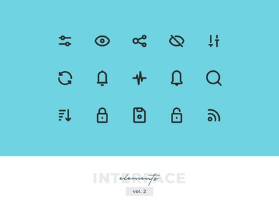 Interface Elements Pixel-perfect Icon Set vol. 2 ux uiux ui pixel-perfect outline interface elements interface icon set icons icon design icon elements