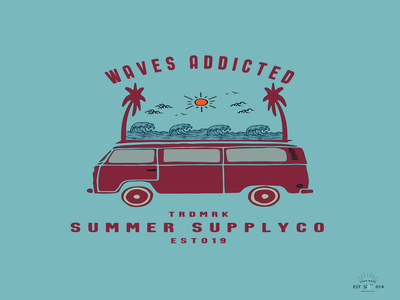 Waves Addicted t-shirt and apparel modern design with styled,.