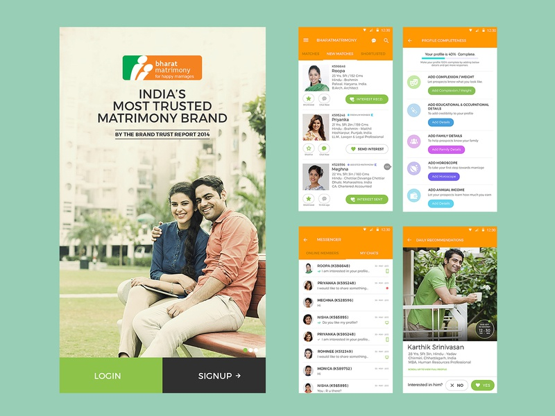 BharatMatrimony brand android uxdesign mobile app mobile ui dating matrimonial matrimony uidesign