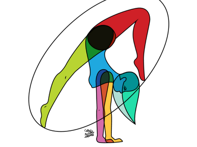 Chica Vitral | Stained Glass Girl vector design digital art illustration