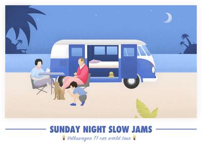 「Sunday Night Slow Jams 」 VW T1 van world tour illustration