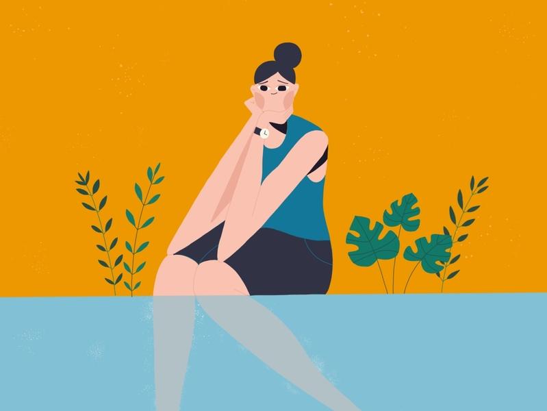 Daydreaming of Summer vector 2d summertime orange procreate blue plants pool woman illustration summer woman design character illustration