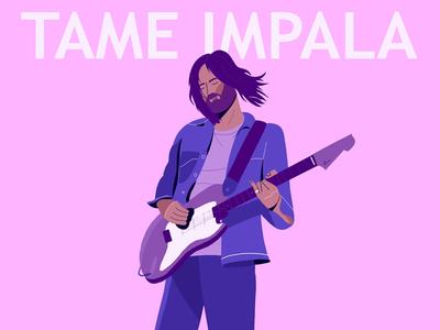 Tame Impala rock indie poster design guitar singer artist blue pink character vector illustration