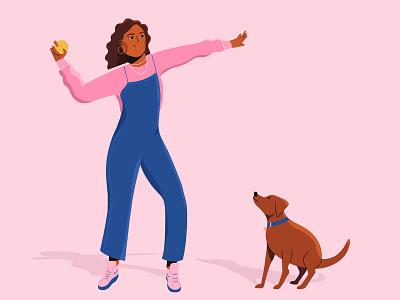 Fetch! vector flat design design flat procreate blue pink walk ball dog woman 2d character illustration