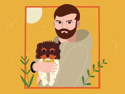 Daily Dog Walks portrait illustrator procreate walk sun yellow leaves plants puppy dog man flat design character 2d illustration