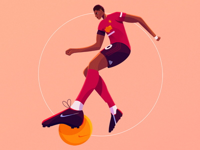 Marcus Rashford design athlete portrait ball character design action soccer footballer football sport procreate character illustration