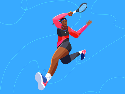 The Greatest Of All Time 👑 serena williams pink blue character design tennis player woman sport tennis illustration