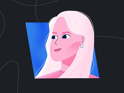 Self Portrait branding flat design 2d procreate blue pink illustraion characterdesign selfportrait portrait woman character