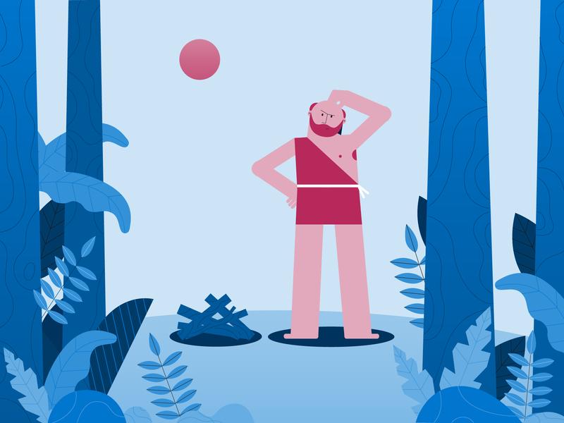 Caveman illustrator plants pink trees nature man blue design character 2d illustration vector