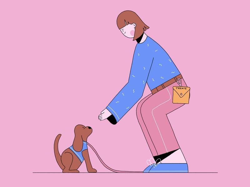 Dog Training people pink blue dog woman design flat design vector character 2d illustration