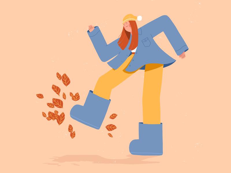 Leaf Kicking Season 🍂 yellow blue leaves autumn fall hat girl woman design flat design character illustration