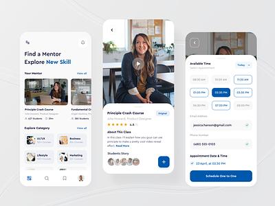 Skillup - Mobile App blue ux design ui design learning platform mentor video booking appointment skills education course mobile app clean mobile designer brand ux ui design app