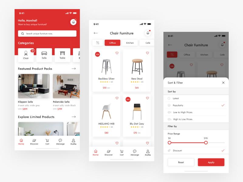 Furniture App Concept sort filter chair furniture ecommerce brand mobile branding design app ux ui