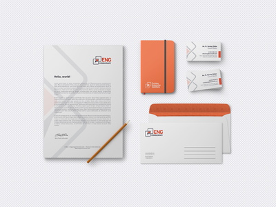 ENG Consultancy moleskine envelope letter business card design branding