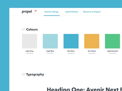 Propel Style Guide application clean friendly local color colour modern fresh simple styleguide